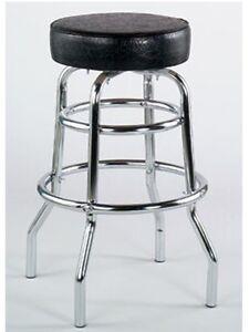 Double Ring Metal bar stool Black vinyl