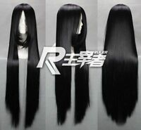 80cm Fashion Long Black Cosplay Straight Hair Full Wig + Gift Wigs Cap