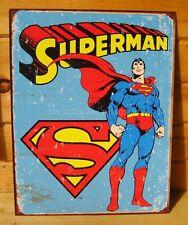 Rustic Retro Superman TIN SIGN poster vtg metal wall decor dc comics logo 1335