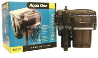 Aqua One A1-29028 Clear View 500 Hang On Filter 500L/h for Aquariums, Fish Tanks