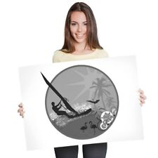 A1 - Tropical Windsurfing Surfer Surfing Wave 60X90cm180gsm Print Bw #40658