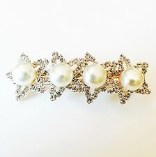 USA Hair Clip Claw Rhinestone Crystal Hairpin Jewel Pearl  Fashion Gold 02
