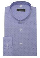 HUBER Herren Oberhemd Stehkragen Hemd weiß blau kariert HU-0088 Regular Fit