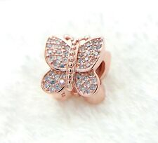 Authentic Pandora Rose Gold Charm 781257 Sparkling Butterfly Bead