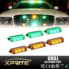 18 LED Emergency Car Vehicle Flash Strobe Light Lightbar Front Grill GREEN AMBER