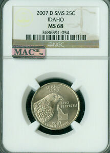 2007-D IDAHO QUARTER NGC MAC MS68 SMS PQ 2ND FINEST REGISTRY SPOTLESS .