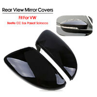 Pair Door Side Wing Mirror Cover Cap Glossy For VW Beetle CC EOS Jetta Passat