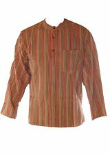 Men's Loose Fit Long Sleeve Striped Casual Shirts & Tops