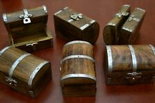 6 PCS CARVED TREASURE CHEST JEWELRY TRINKET WOOD BOX #F-391