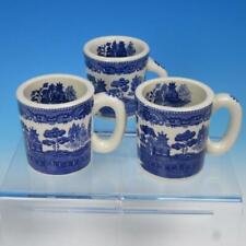 Japan - Blue Willow Pattern - 3 Heavy Coffee Mugs - Restaurant Ware Type