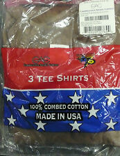 US ARMY COTTON T-SHIRT BROWN CREW NECK SHORT SLEEVE TSHIRT XX-SMALL 3 PACK