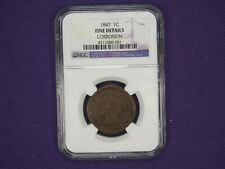 1847/47 Fine F details Braided Hair Large Cent NGC