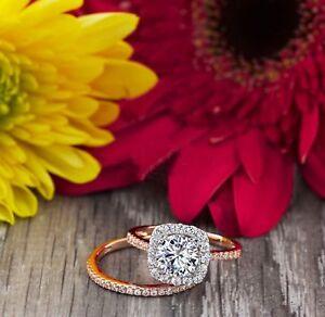 1.50 Ct VVS1 Round Bridal Diamond Engagement Ring 14K Rose Gold Band Set Size K