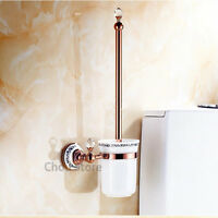 Rose Gold Brass Crystal Deco Bathroom Toilet Brush Holder Set with Ceramic Cup