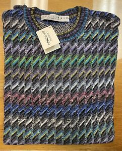 EQUILIBRIO ABSTRACT MULTI COLOR SWEATER .size M,XL.VINTAGE ITALY  MEN'S.LR