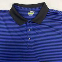 Izod Perform X Golf Polo Shirt Men's 2XL XXL Short Sleeve Blue Black Poly Blend