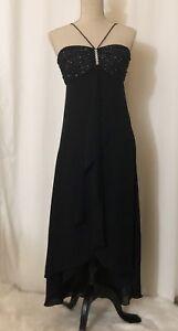 Expressions LA Black Jeweled Spaghetti Strap Halter Asymmetrical Dress Gown Size