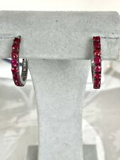 Effy Jewelry Ruby Huggies 925 Sterling Silver Earring 1.15 TWC/NEW/Gift