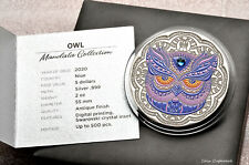 2020 - Niue $5 - OWL 2nd in Mandala Collection - 2 oz .999 sSlver coin w/all OMP
