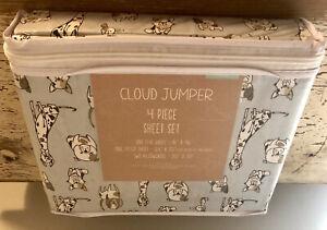 Cloud Jumper FULL 4 piece Sheet Set Dogs Gray