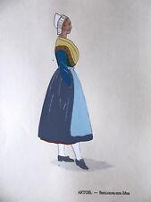 PLANCHE  POCHOIR COSTUME DE FRANCE ARTOIS BOULOGNE SUR MER