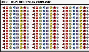 BattleTech - 312x Small Waterslides Decals - Main Mercenary Commands