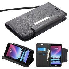 LG K10 K20 Plus V Harmony Strap Leather Flip Wallet Protective Case Cover Black