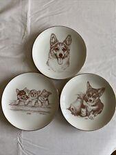 Three Laurelwood Pembroke Welsh Corgi Plates Ltd Edition of 150. 1988/1989/1992