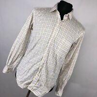 J McLaughlin M Medium Shirt White Blue Pink Checkered Button Down Front Mens M3