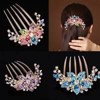 Elegant Ladies Rhinestone Inlaid Flower Hair Comb Hairpin Headwear Accessory New
