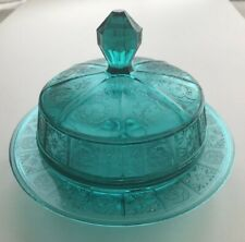 More details for jeanette ultramarine 'doric and pansy' butter dish depression glass
