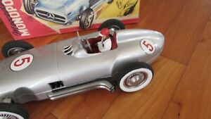 """JNF 1950's tin toy race car 13"""" famous Mercedes Benz W 196 made W Germany 1950's"""