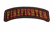 FIREFIGHTER Embroidered Gold / Red on Black Logo 3 3/4 Inches Wide Iron On Patch
