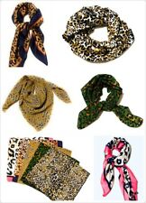 Big Square Leopard Animal Print Head Neck Thin Faux Silk Scarf - 70cm x 70cm UK