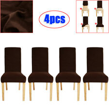 4x Super Fit Stretch Short Dining Chair Cover Slipcover Seat Protector Chocolate