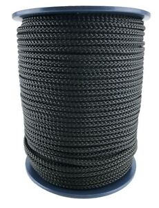 10mm Black Braided Polypropylene Poly Rope Cord Paracord Drawstring Sailing