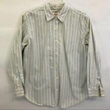 Talbots Shirt Women's M Petites Long Sleeve Button Front White Striped