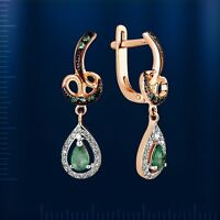 Russische Rose Rotgold 585 Ohrhänger mit Brillanten & Smaragd. Rose gold earring