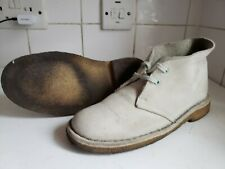 CLARKS ORIGINALS DESERT CHUKKA BOOTS FLAT LEATHER LIGHT BEIGE SIZE UK 4.5 37.5 C