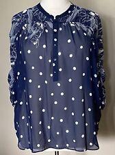 Susan Graver Chiffon 3/4 Sleeve Popover Blouse Ruching Detail Navy White Sz 1X