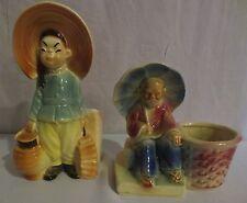 Vtg Royal Copley Asian Girl w/Basket & Lantern Planter & USA 617 Shawnee Pot Man