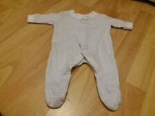 BABY'S CUTE GREY & WHITE STRIPE BABY GROW SLEEP SUIT ALL IN ONE TINY BABY SIZE