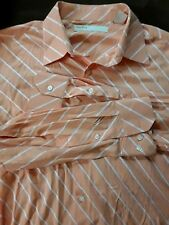 Perry Ellis Pinstripe Shirt Mens Size XXL Orange  Long Sleeve Button Front