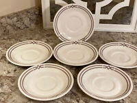 Lot of 6 Syracuse China Old Ivory Red/ Gray Coffee  Syralite Saucers Plates