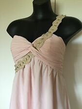 Size 12 Smart Flattering Light Apricot Lace Diamonte Detail Cocktail Dress New