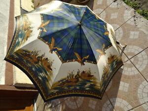 parapluie cane Jean nom à retrouver décor canard sauvage   TBE
