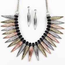 Wyo-Horse Western Womens Jewelry Copper Feather Fan Necklace Earrings Set