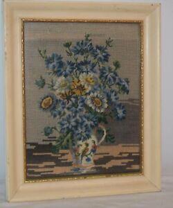 "Needlepoint Floral picture - Vintage 9"" X 12"" / 11"" x 14"" framed"