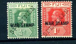 Fiji 1915 war stamp pair handstamped  SPECIMEN MLH. original gum