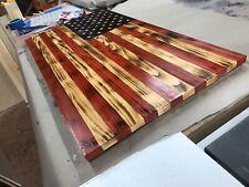Large Handmade Wood Rustic American Flag 37 X 20 Charred Pine and Sealed